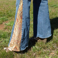 Blue Jean Bell Bottoms with Rusty Cinnamon colored Paisley Tapestry flares Handmade by The Hippie Patch - Size 4