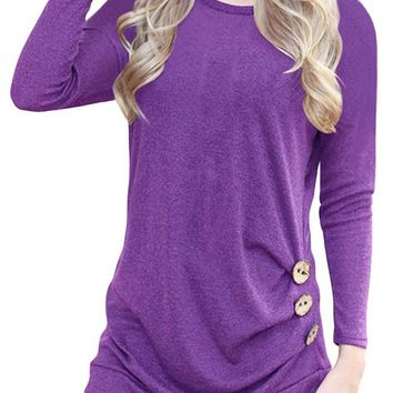 Candy Color Round Neck Long Sleeves Button T-shirt