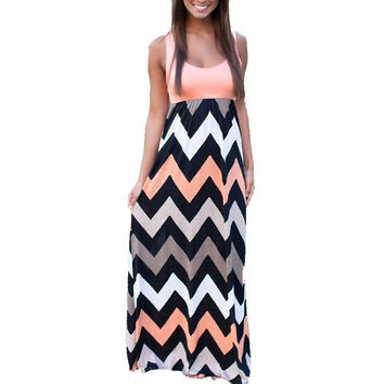 Boho Chevron Stripe Print Long Maxi Dress