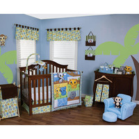 Trend Lab Riley Tiger and Friends 6-Piece Crib Bedding Set - Blue/Green