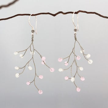 Silver earrings, pink white earrings, tender bridal accessories, dangle earrings, handmade,twig jewelry earrings, pink wedding, boho wedding