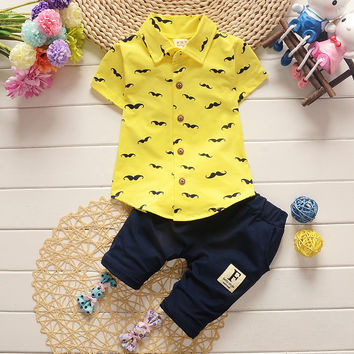 2017 new summer casual cartoon Moustache print kid children baby boy clothing set for boy skirt + paint two piece