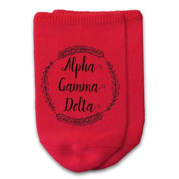 Alpha Gamma Delta - Sorority Name with Wreath No-Show Socks