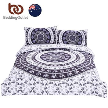 BeddingOutlet Vanitas Bedding Bohemia Modern Bedclothes Indian Home Black and White Printed Quilt Cover 3Pcs AU SIZE Fashion