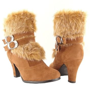 Womens Ankle Boots Fur Cuff Suede High Heel Tan