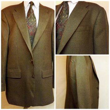 80s Polo Brown Check Wool Mens Sport Coat Size 42R by Ralph Lauren