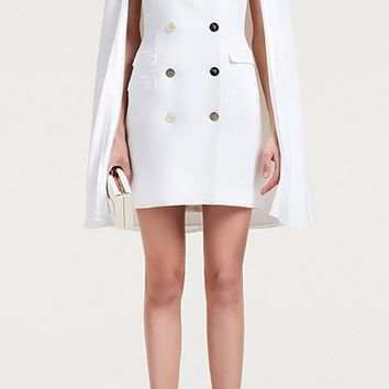 Give Me Up White Long Cape Sleeve V Neck Double Breasted Blazer Mini Dress