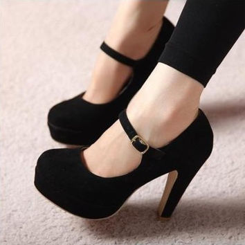 Fashion round head Princess high heels