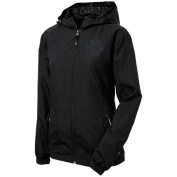 Paw Print Ladies Jersey-Lined Hooded Windbreaker