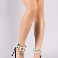 Holographic Dome Studded Grid Caged Ankle Cuff Stiletto Heel