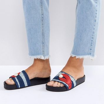 Kurt Geiger Lobster Pearl Sliders at asos.com
