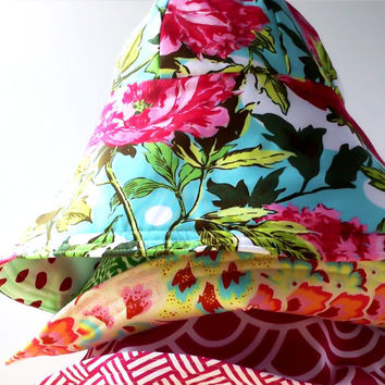 SUMMER sun hat for women in pink - REVERSIBLE beach hat - floppy wide brim in cotton - custom size small medium large extra large - PREPPY