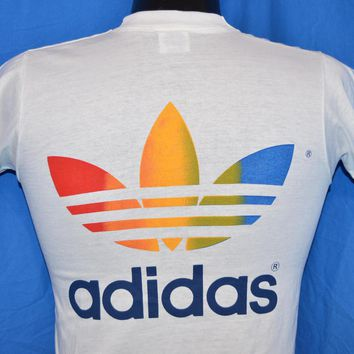 80s Adidas Rainbow Trikot Trefoil Bob Wieland Walk for Hunger t-shirt Youth Large