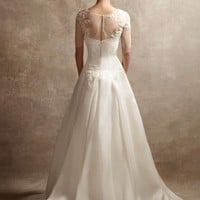 Satin Faced Organza Gown with Illusion Piece - David's Bridal- mobile