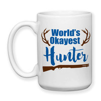 World's Okayest Hunter Antlers Big Deer Rack Hunting Gifts Hunter Gifts Father's Day 15oz Coffee Mug