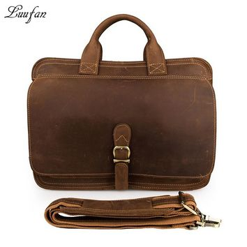 Men's crazy horse leather briefcase Double layer Cow leather Business bag Real leather Laptop messenger bag work tote bag
