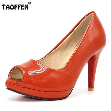 peep toe  patent leather pumps P3141