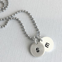 Round Initial Charms, Personalized Monogram Necklace, Hand Stamped Jewelry