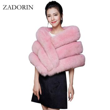 Luxury Women Faux Fox Fur Coat Female Cloak Poncho Cape Bridal Wedding Faux Fur Shawl Cape Women bandanas shawls and scarves