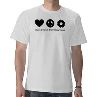 love peace bicyclegrease (for white shirt) from Zazzle.com