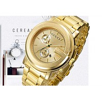 GUCCI Watch Golden Women Men Double Face Logo Gucci Watch