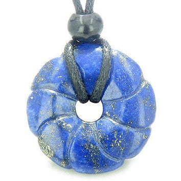 Lapis Lazuli Magic Celtic Flower Lucky Donut Good Luck Powers Amulet Gemstone Pe