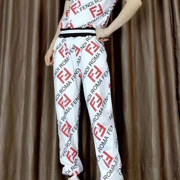 """FENDI"" Women's Leisure  Fashion Letter Printing  Short Sleeve Trousers Two-Piece Casual Wear"