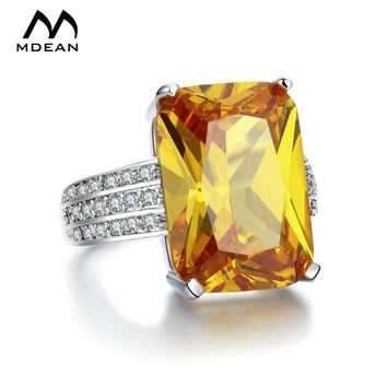 MDEAN White Gold Color big yellow stone Rings For Women jewelry engagement wedding women rings bijoux bague MSR890