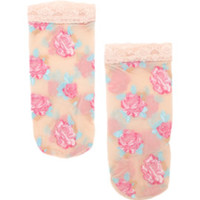 With Love From CA Sheer Floral Ruffle Ankle Socks at PacSun.com