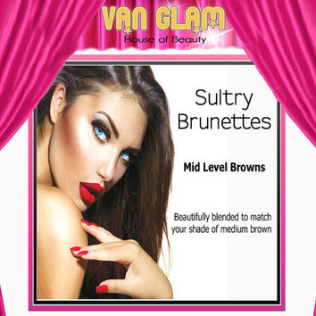 """Sultry Brunette, Clip In Hair Extensions, 20"""", Cuticle Remy Human Hair"""