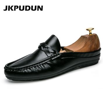 JKPUDUN Summer Half Shoes For Men Penny Loafers Italian Fashion Casual Boat Shoes Men Leather Flats Slipon Black Shoes Zapatos