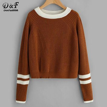 Dotfashion Striped Contrast Trim Cable Loose Sweater 2017 Coffee Round Neck Pullovers Autumn Long Sleeve Casual Sweater