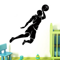 Wall Decals Basketball Player Stickers Sportsman People Gym Decal Vinyl Sticker Home Interior Design Art Mural Kids Nursery Room Decor KG832