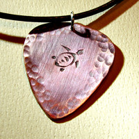 Copper Guitar Pick Necklace with Sea Turtle in Iridescent Purple Blue Patina