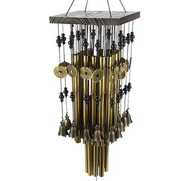 Graceful 24 Tube Metal Windbell with Money Cion Drawing Wind Chime