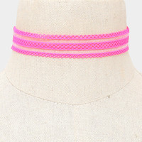 """13"""" pink mesh stretch lace choker collar necklace .75"""" wide"""