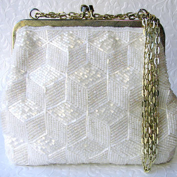 Elegant Silk White Vintage Beaded Purse Geometric Bead Pattern Formal Evening Bag Wedding Handbag Bridal Gold Frame Hand Made Hong Kong