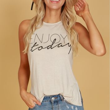Enjoy Today Graphic Tank Beige
