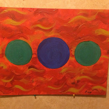 Envious Fire Acrylic Abstract Painting on Canvas Board