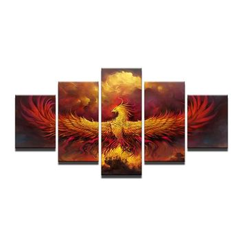 Canvas Abstract Painting Modular Wall Art 5 Pieces Fire Phoenix Bird Pictures Living Room Home Decor HD Printed Poster Framework