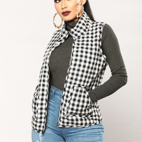 Into The Woods Gingham Vest - Black/White