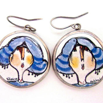 Sterling Silver Unique Ceramic Earrings by MARIA ROZANSKA Polish Hand Crafted, Vintage