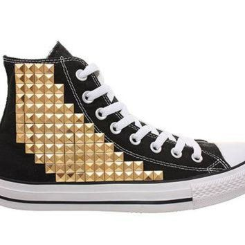 DCKL9 Studded Converse, Converse Black High Top with Gold Pyramid Studs by CUSTOMDUO on ETSY