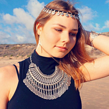 Gypsy Bohemian Beachy Chic Coin Fringe Statement Necklace Boho Festival Silver Ethnic Turkish (Size: 166 g, Color: Silver) = 1928438596