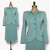 Vintage 40s Aqua Wool Suit / 1940s Tailored Woven Wool Blazer Jacket Pencil Skirt