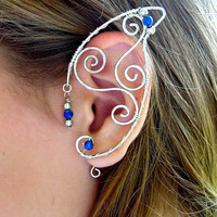 Pair of Silver Wire Elf Ear Cuffs with Blue Lapis Lazuli Accents Renaissance, Elven Ears, Costume Earrings Ear Wraps