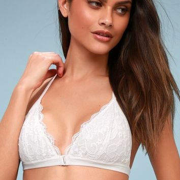 Love Charm White Lace Strappy Bralette