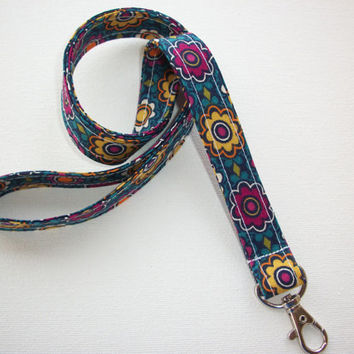 Lanyard  ID Badge Holder - Blue Flower Dreams -  Lobster clasp and key ring
