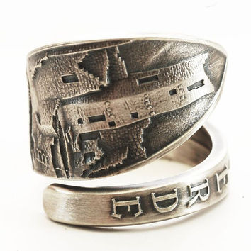 Spoon Ring Verde Mesa Colorado National Park Souvenir Sterling Silver Ring, Made in Your Size (4498)