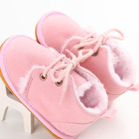 Faux Fur Oxfords- Soft Pink